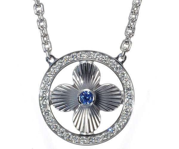 ルイヴィトン ネックレス サファイア ダイヤモンド パンダンティフ サンブロッサム K18WG
