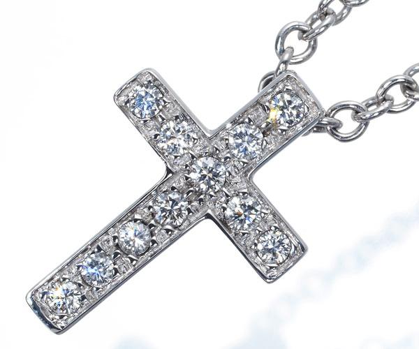 ポメラート ネックレス ダイヤモンド クロス K18WG