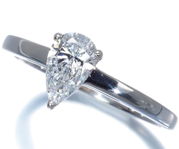 ブルガリ リング ペアシェイプカット ダイヤモンド 0.6ct〜0.7ct程 ソリテール 12号 Pt950