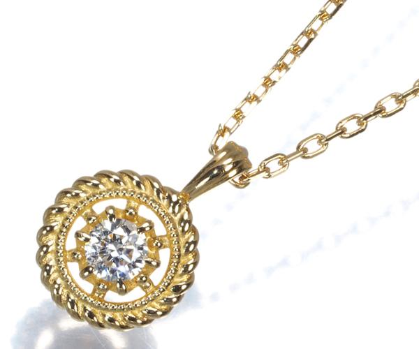 オデュース4℃ ネックレス ダイヤモンド 一粒 K18YG