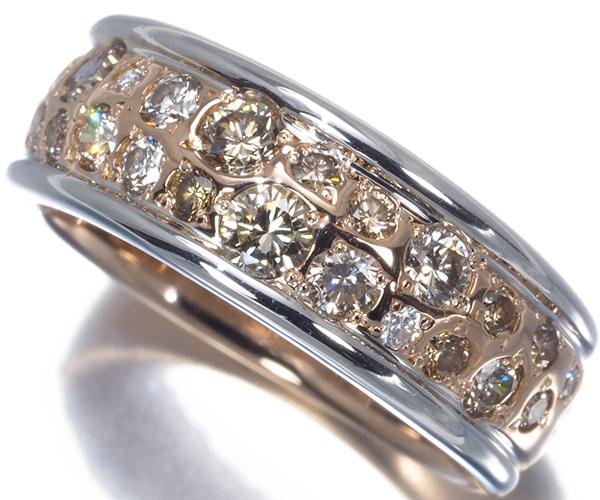 カシケイ リング ダイヤモンド 0.85ct メランジェ 12号 K18PG