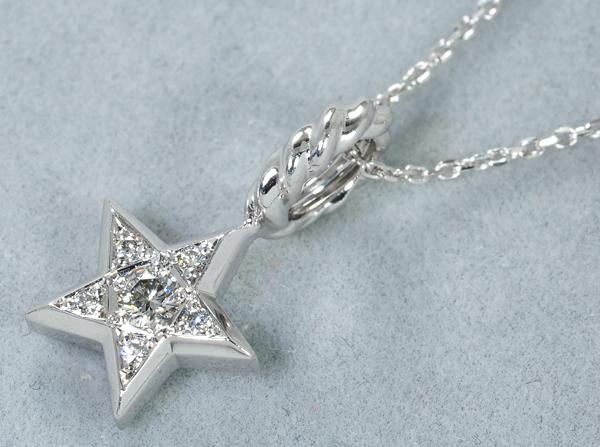 SJX ネックレス ダイヤ ダイヤモンド 0.09ct スター K18WG
