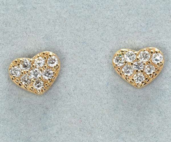 ポンテヴェキオ ピアス ダイヤモンド 0.14ct ハート パヴェ K18PG