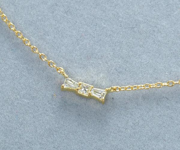 アーカー ネックレス ダイヤモンド タイ リボン K18YG
