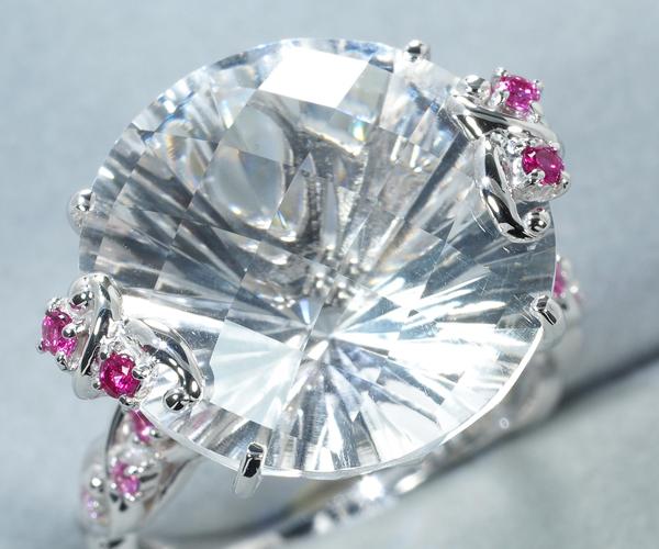石垣順子 ジュ・ステラ リング クォーツ ピンクサファイア ダイヤモンド 0.005ct K18WG