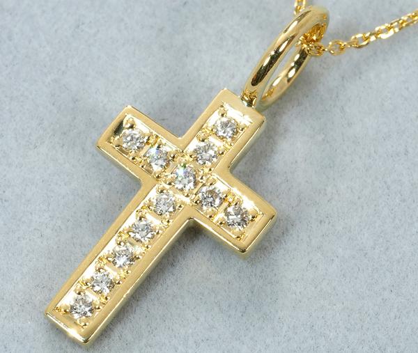 SJX ネックレス ダイヤ ダイヤモンド 0.12ct クロス K18YG
