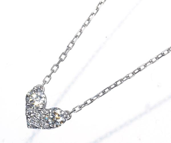 ポンテヴェキオ ネックレス ダイヤモンド 0.14ct ハート K18WG