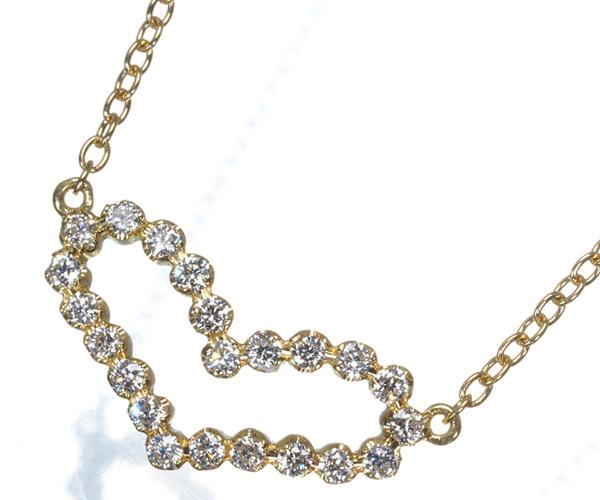 アーカー ネックレス ダイヤモンド 0.13ct ビリーブハート K18YG