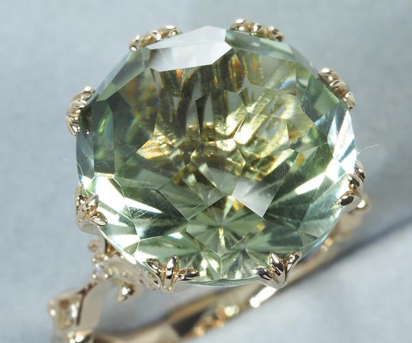 石垣順子 ジュ・ステラ リング グリーンクォーツ 約12.00ct ダイヤモンド 0.04ct K18CG