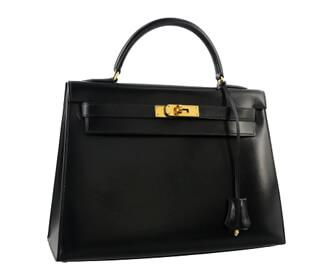 ケリー32 ハンドバッグ ブラック ボックスカーフ