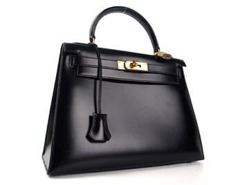 ■ ケリー28 ハンドバッグ ブラック ボックスカーフ