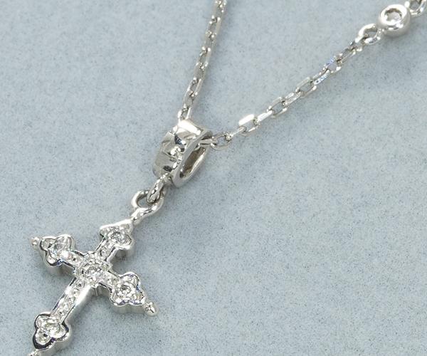 ローリーロドキン ネックレス ダイヤモンド クロス Pt950
