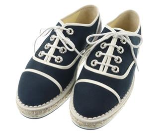 ■ スニーカー 靴 サイズ 36-1/2 ネイビー×グレー×ホワイト パール レザー×ナイロン