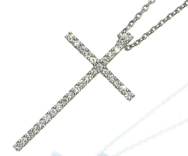 スタージュエリー ネックレス ダイヤモンド 0.08ct クロス K18WG