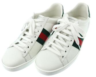 グッチ スニーカー 靴 ローカット 36-1/2 ホワイト×グリーン×レッド