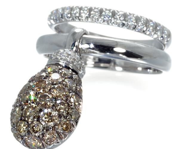 シャンテクレール リング ブラウン&クリアダイヤモンド ジョイフル 11号 K18WG