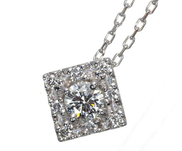 ヴァンドーム ネックレス ダイヤモンド 0.11ct スクエア K18WG