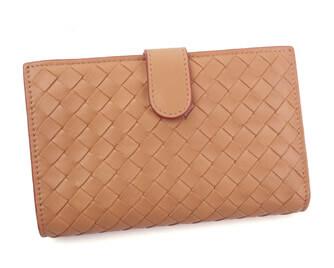 ボッテガヴェネタ 二つ折り 財布 レザー ベージュ×ピンク 121060
