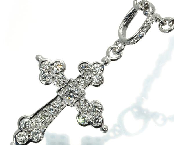 ローリーロドキン ネックレス ダイヤモンド ゴシッククロス K18WG