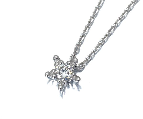 スタージュエリー ネックレス ダイヤモンド 0.07ct スター K18WG