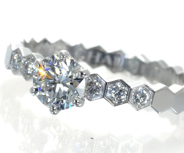 ショーメ リング ダイヤモンド 0.34ct E VVS2 3EX ハニカム K18WG 6号
