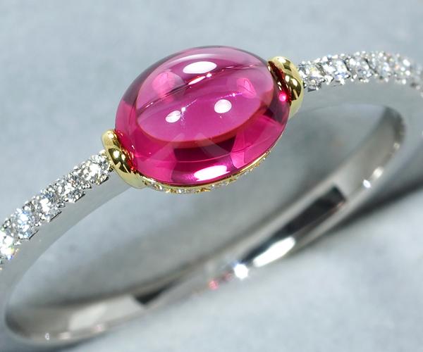 ギメル リング ピンクスピネル 0.888ct ダイヤモンド 0.179ct 12号 Pt950/K18YG