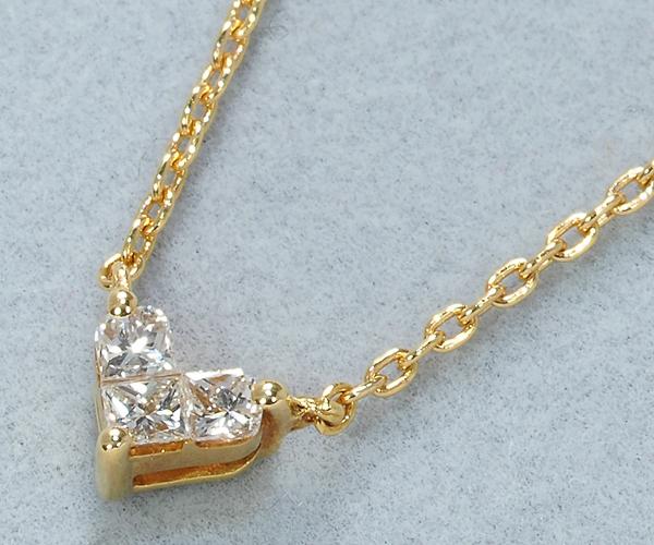 スタージュエリー ネックレス ダイヤモンド 0.10ct ミステリアス ハート K18YG