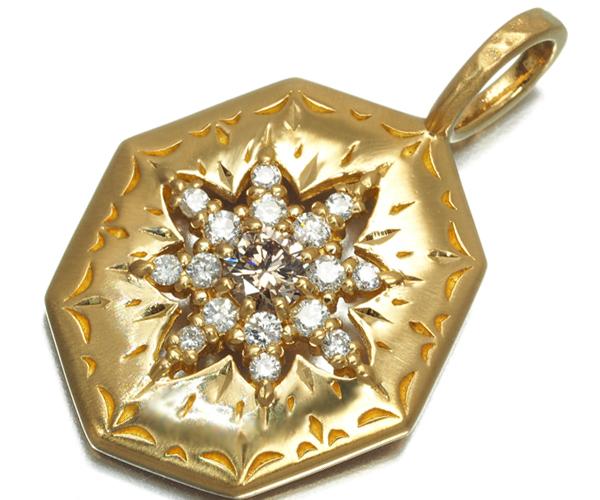アガット ペンダントトップ ブラウン&クリアダイヤモンド 0.21ct K18YG