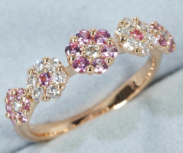 ポンテヴェキオ リング ダイヤモンド 0.20ct ピンクサファイア 0.28ct K18PG
