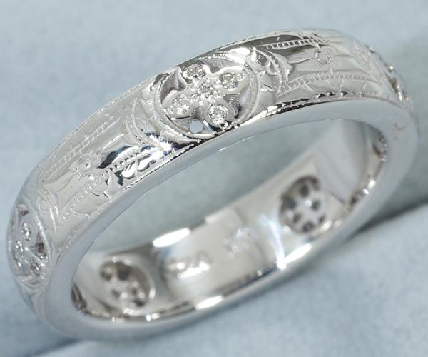 ローリーロドキン リング ダイヤモンド エングレイブド K18WG 10号