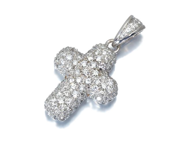 スタージュエリー ペンダントトップ ダイヤモンド 0.70ct クロス パヴェ K18WG