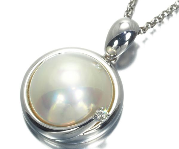 TASAKI タサキ ネックレス マベ真珠 パール ダイヤモンド K18WG