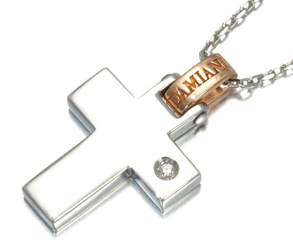 ダミアーニ ネックレス 1Pダイヤモンド リフレックス クロス K18WG/PG