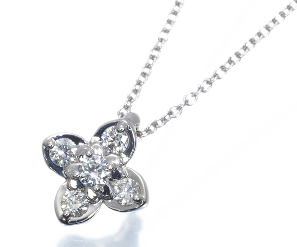ポンテヴェキオ ネックレス ダイヤモンド 0.11ct フラワー Pt999/Pt850