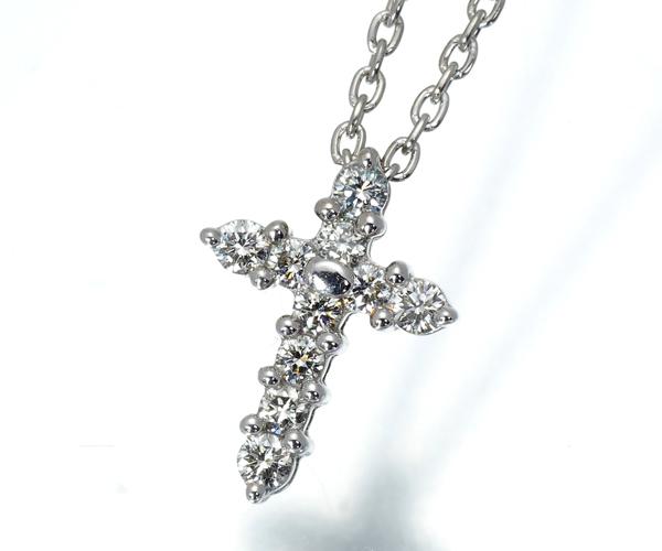 TASAKI タサキ ネックレス ダイヤモンド 0.10ct クロス K18WG