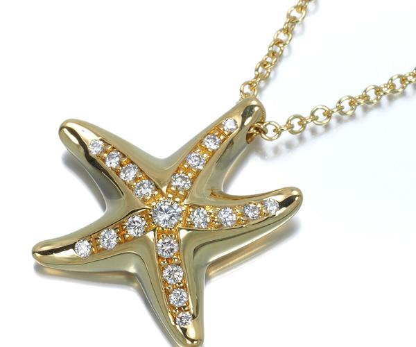 ティファニー ネックレス ダイヤモンド スターフィッシュ K18YG/Pt950