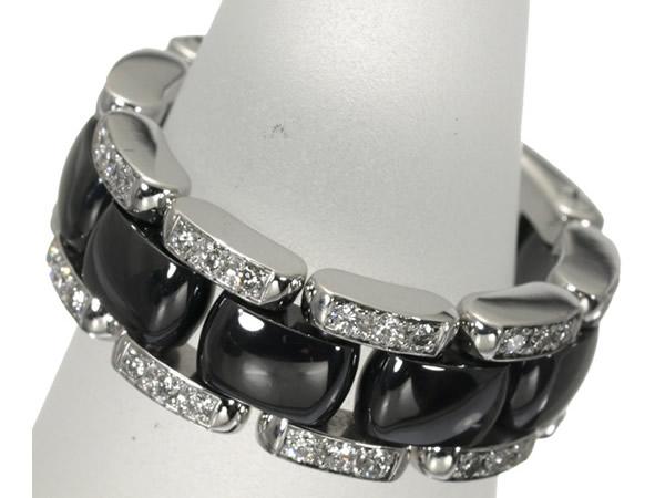 シャネル ダイヤモンド J12 ウルトラ ブラックセラミック リング K18WG 50号