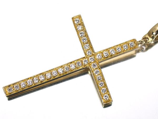 ショーメ ダイヤモンド K18YG クロス ネックレス 28×18.5mm