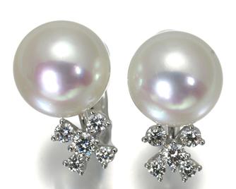 TASAKI タサキ真珠 イヤリング 白蝶真珠 パール 11.0mm珠 ダイヤ ダイヤモンド 0.46ct K18WG