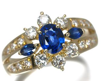 TASAKI タサキ真珠 リング サファイア 0.59ct ダイヤ ダイヤモンド 0.50ct K18YG