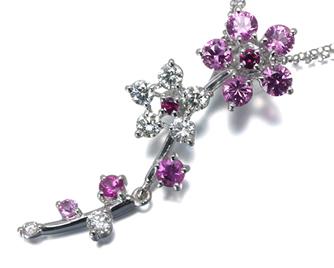 TASAKI タサキ真珠 ネックレス サファイア ダイヤ ダイヤモンド 0.30ct ルビー 花 フラワー K18WG