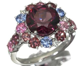 TASAKI タサキ真珠 ガーネット 3.05 ダイヤ ダイヤモンド トルマリン タンザナイト リング K18WG