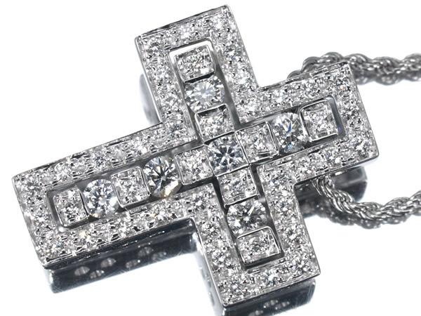 ダミアーニ ベルエポック ダイヤモンド K18WG クロス ネックレス 22.5×18mm