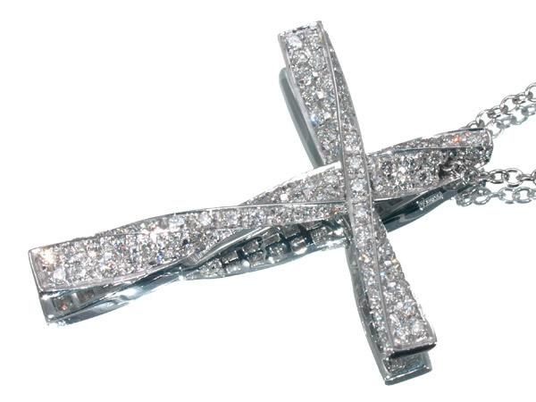 ダミアーニ ダイヤモンド ツイストクロス ネックレス K18WG 35×27mm