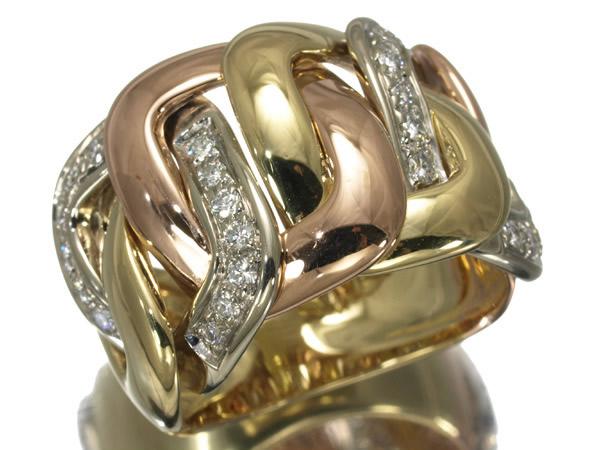 ダミアーニ ダイヤモンド 0.42ct スリーカラー リング K18YG/WG/PG