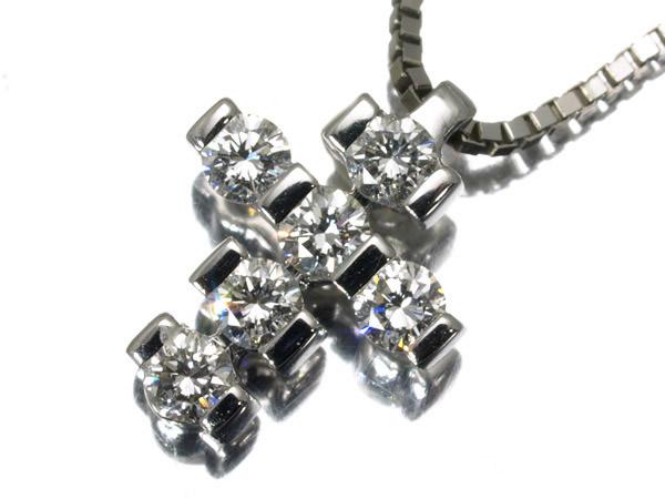ダミアーニ ダイヤモンド クロス ネックレス K18WG 4.2g