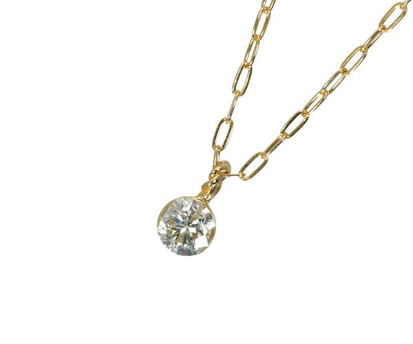 アガット ネックレス ダイヤモンド 0.1ct K18YG