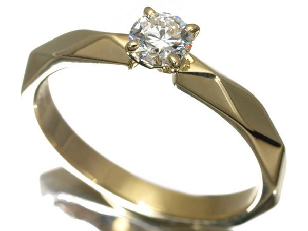 ブシュロン ダイヤモンド 0.30ct F VVS1 EX ファセット リング K18YG