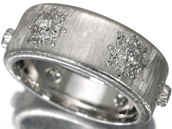 ジャンマリア ブチェラッティ ダイヤモンド 彫金リング K18WG