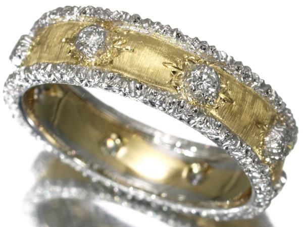 ジャンマリア ブチェラッティ ダイヤモンド 彫金リング K18YG/WG